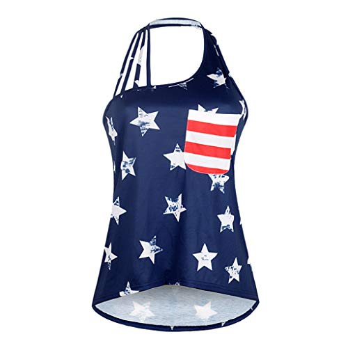 Tank Tops for Women America Flag Printed Sleeveless Halter Blouse Casual Loose Vest with Pocket (XXL, Multicolor)