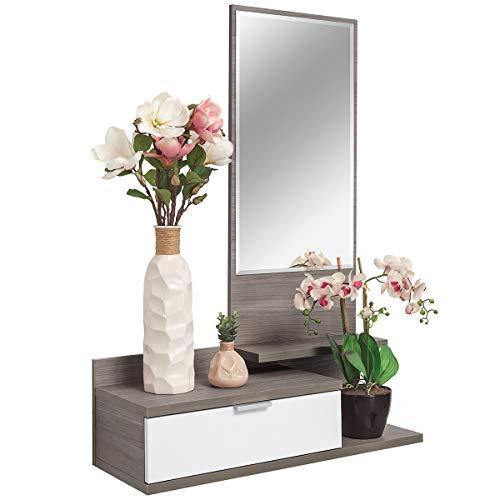 COMIFORT Recibidor Colgante - Mueble de Entrada con Cajon, Espejo y 3 Estantes de Estilo Nordico y Moderno, Muy Resistente y Estable, de Color Blanco y Trufa