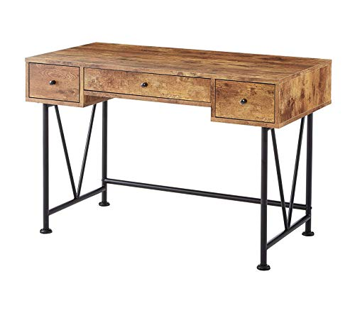 - Wood & Style Office Home Furniture Premium 3-Drawer Writing Desk with Antique Nutmeg and Black