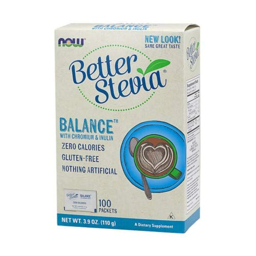 Stevia Balance with Inulin and Chromium by NOW Foods - (130mg - 100 Packets Per Box)