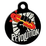 Hot Dog Revolution! Pet ID Tag for Dogs and Cats - Dog Tag Art - SMALL SIZE