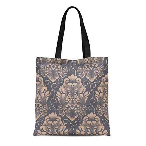 Semtomn Cotton Canvas Tote Bag Damask Classical Luxury Old Fashioned Royal Victorian for Exquisite Reusable Shoulder Grocery Shopping Bags Handbag Printed