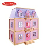 Melissa & Doug Maison de poupée en bois à plusieurs niveaux avec 19 meubles