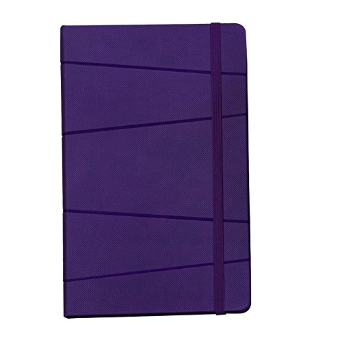 Labon's A5 Classic Notebook Italian PU Hardcover Personal Diary Journal Vertical Elastic Band Cord Closure (Ruled, Purple)