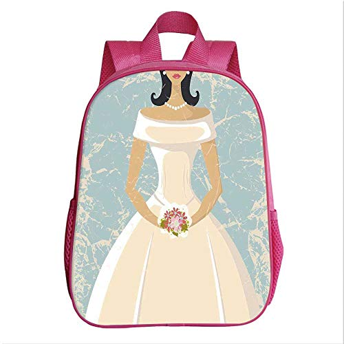(Bridal Shower Decorations Kindergarten Shoulder Bag,Grunge Sketchy Design Backdrop Wedding Bride Dress Art for Child,9.4''Lx4.7''Wx11.8''H)