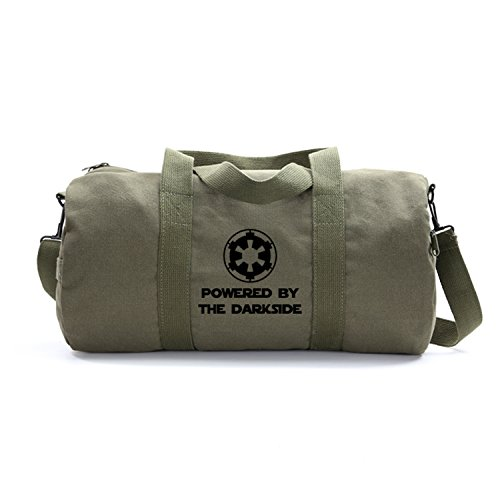 Powered By The Darkside Galatic Empire Canvas Duffel Bag in Olive, Large