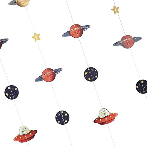 Ginger Ray Space Adventure Party Spaceship & Robot Kids Backdrop, (Space Party Decorations)