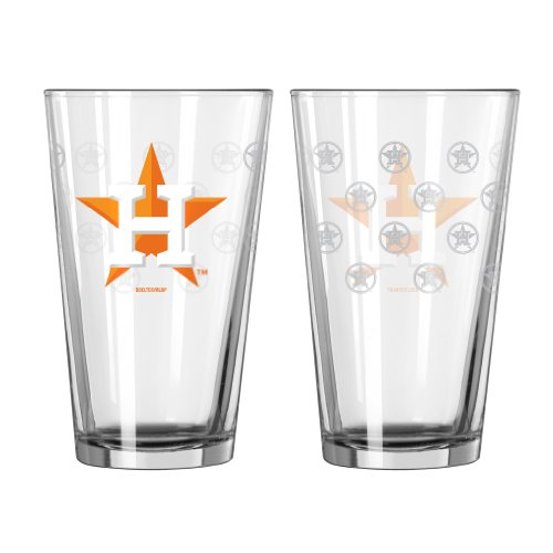 MLB Houston Astros Satin Etch Pint Glass Set (Pack of 2), 16-Ounce