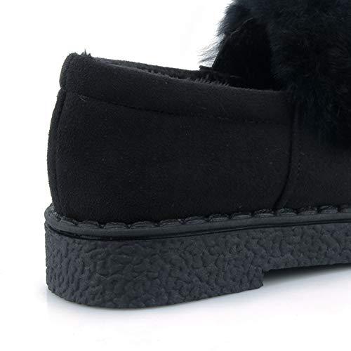 mantengono Slip Spessore Rotonda comfort nere Scarpe Le Mocassini Inverno caldo Breve On Mandria donne Autunno Basso peluche Punta il pHwx51