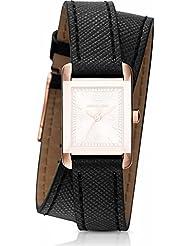 Michael Kors Womens Black Leather Band Steel Case Quartz Rose Gold-Tone Dial Analog Watch MK2442