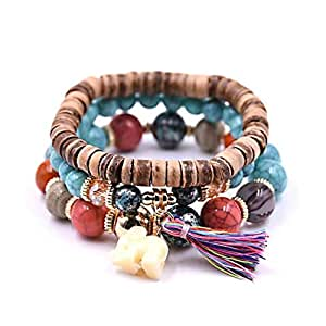 Fashion Multilayer Gemstone Natural Stone Beaded Stretch Bracelets Bohemian Jewelry 3pcs Set for Women Girls Handmade Bracelets
