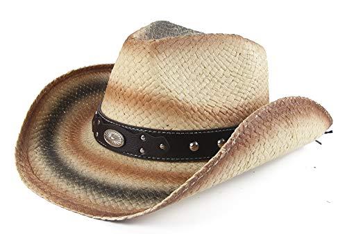 Melesh Adult Sun Straw Western Cowboy Hat (Beige