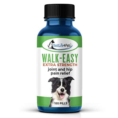 BestLife4Pets Walk-Easy Joint Supplement for Dogs Extra Strength - All Natural, Homeopathic, Effective Dog Pain Relief with Zero Chemicals or Additives - No Taste or Smell (180 Pills)