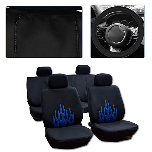 (SCITOO Universal Black/Blue Car Seat Cover w/Headrest Cover/Steering Wheel Cover/Shoulder Pads 11PCS Breathable Mesh Cloth Retractable Auto Cover Replacement for Most Cars)