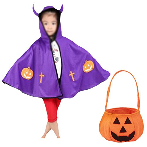 [Sept.Filles Kids Cloaks with Hood Cosplay Costume Plus Pumpkin Bag(Purple)] (Adult Purple Wizard Costumes)