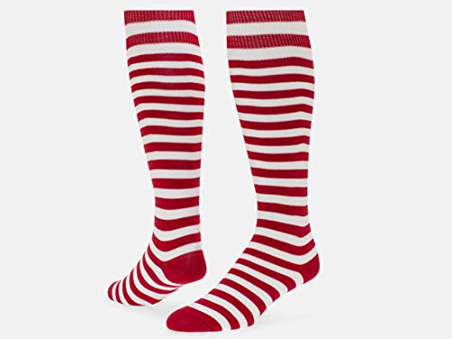 Red Lion Hot!! Red and White Stripe Lion Mini Hoop Athletic Socks ( Red / White - Large )