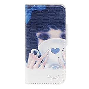 NEW A Girl Drinking Coffee Pattern PU Full Body Case with Stand and Card Slot for iPhone 5/5S