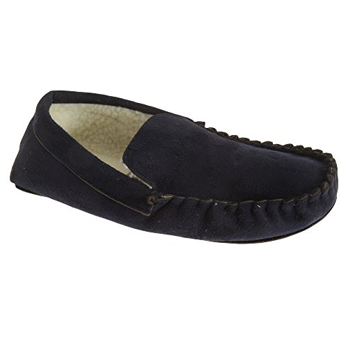 Universal Textiles Mens Sherpa Fleece Lined Moccasin Slippers Black 47iX0N5