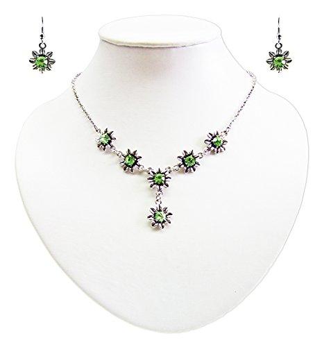 Blumen Collier mit Ohrhängern Hellgrün - Zauberhafte Schmuck Sets bestehend aus Halskette und Ohrringen