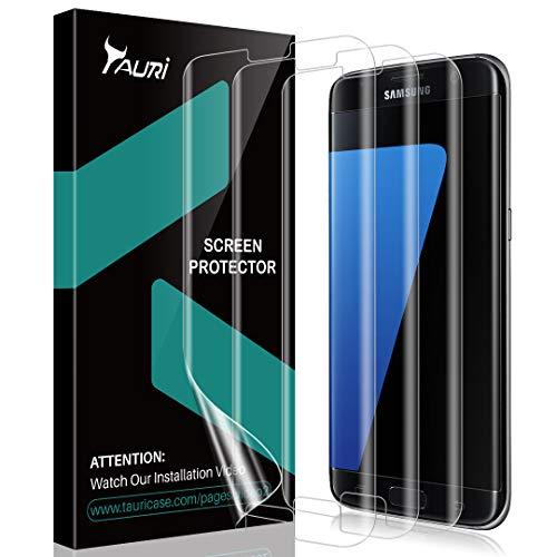 TAURI [3 Pack]Screen Protector for Galaxy S7 Edge, [No Liquid, Easy Installation] Case-Friendly Anti-Bubble HDClear TPU Film