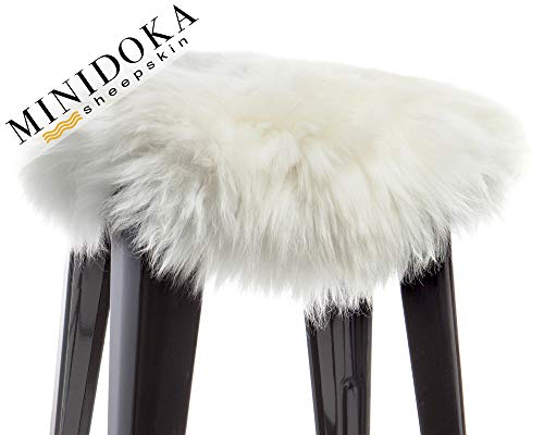 Australian Sheepskin Natural Seat Cover, No Ties, Non-Fitted, Universal Size, Ivory Color, Stool, Barstool, Chair, 14 x 14 inches, Round Shape, Leather Back, by Minidoka Sheepskin
