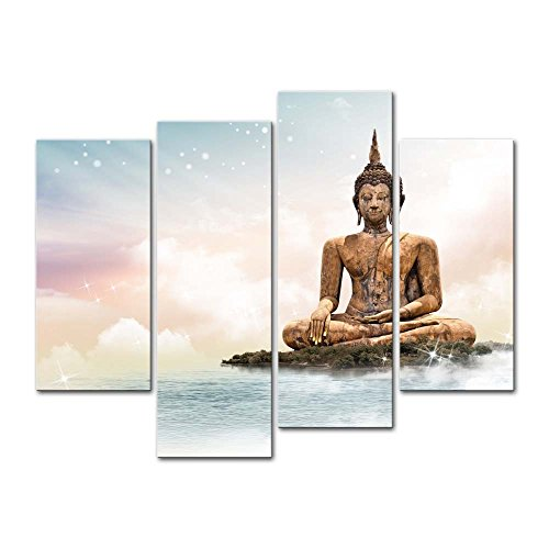 Wall Art Decor Poster Painting On Canvas Print Pictures 4 Pieces Statue of Sakyamuni Buddha Bangkok Temple Sculpture Buddha Religious Framed Picture for Home Decoration Living Room Artwork