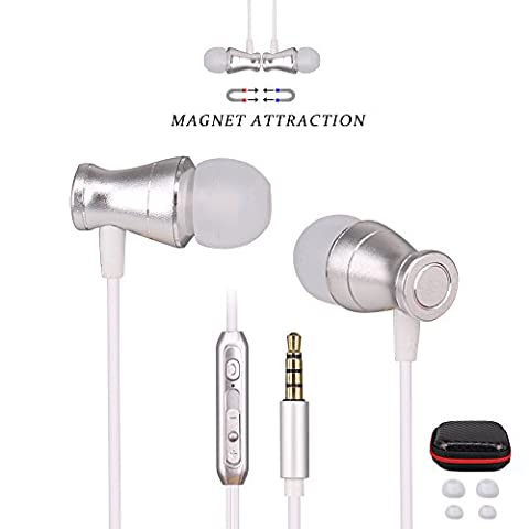 Ephone Updated In-Ear Earbuds Headphones, Metal Magnetic Housing and Wired Bass Stereo Headsets, Earphones with Microphone Apply to 3.5mm Audio Jack - Silver