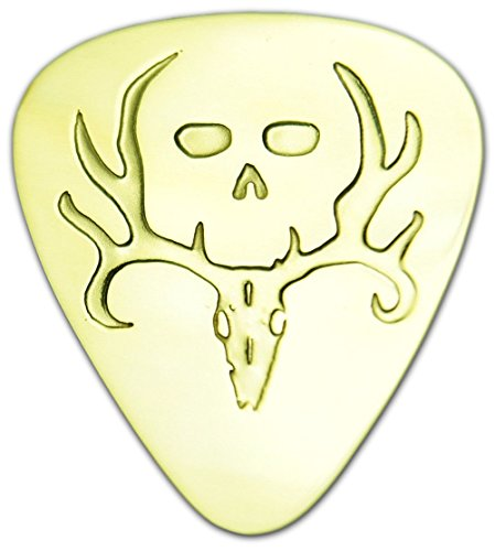 (Unique & Custom [0.38mm Thin Gauge - Traditional Style Semi Tip] Hard Luxury Guitar Pick Made of Genuine Solid Brass w/ Deer Buck Skeleton Skull Antlers Design