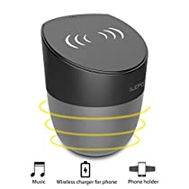 Wireless Charger Bluetooth Speaker iLEPO 6-7 Hours Playtime Portable Speaker Qi Charging Station for iPhone X iPhone 8 Plus Samsung Galaxy Note Edge All Qi-EnablesDevices