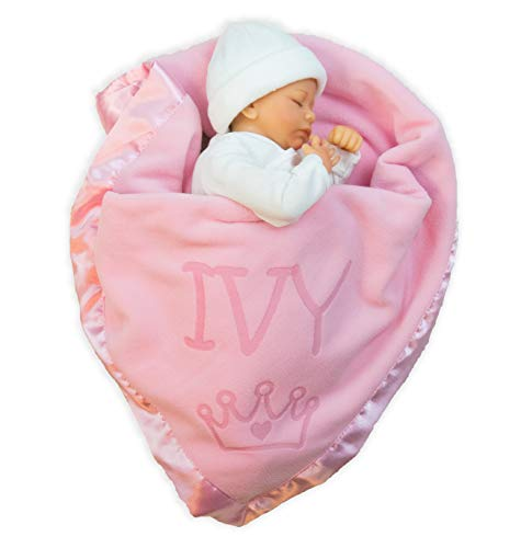 Custom Catch Princess Baby Blanket for Girls - Toddler Girl Crib Bedding, Receiving Blankets (Pink, Blue: 1 Text Line) (Sheet Custom Sets)