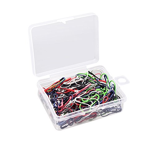 SelfTek 200 Pcs Bulb Pins, Horseshoe Shaped Safety Pins Colored Metal Gourd Pins for Clothing Crafting Knitting Locking Random Color with a Plastic Box ()