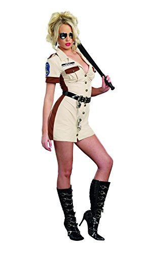 [Dreamgirl Women's Highway Patrol Don't Stop Cop Costume, Tan, Medium] (Highway Patrol Costume)