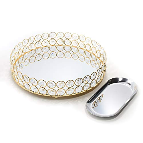 Lindlemann Mirrored Crystal Vanity Tray - Ornate Decorative Tray for Perfume, Jewelry and Makeup (Round, 10 inches, Gold)