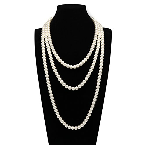 T-Doreen Cream Long Pearl Necklace for Women Girls 69 Inch Layered Strands ()