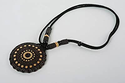 Handcrafted Round Pendant Made Of Clay With Colored Enamel Paintings