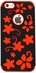 Cell Armor I5-NOV-E20-AG Snap-On Case for iPhone 5 - Retail Packaging - Red Flowers on Black