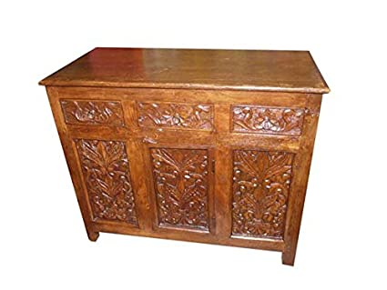 Amazon.com   Antique Media Sideboard Console Buffet Floral Carved Storage  Chest   Buffets U0026 Sideboards