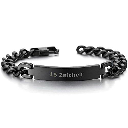 MeMeDIY Schwarz Edelstahl Armband Link Polished - Kundenspezifische Gravur