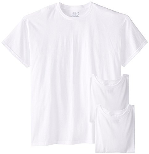 Fruit of the Loom Men's Big Size Crew T-Shirts (Pack of Three) (White, X-Large (Big And Tall Crew T-shirt)