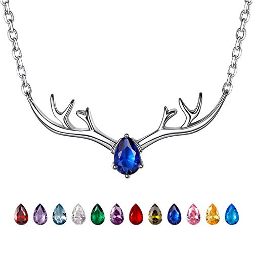 Antler Necklace 925 Sterling Silver Reindeer Animal Horn Jewelry Minimalist Style Clavicle Chain with Personalized Birthstone Charm Deer Antler Charm Necklaces - Sep. Sapphire