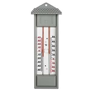 Min. Max /. Diseño de la casa hygrobaby, al aire libre, jardín. Termómetro con Min./ max análogo. Medidor de temperatura, Gris