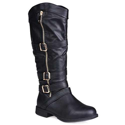 Twisted Womens AMIRA Wide WidthWide Calf Faux Leather Knee-High Western Flat Riding Boot with Multi Buckle Straps - BLACK Size 10