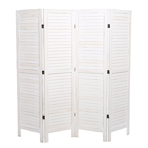 MyGift Whitewashed Wood 4 Panel Screen, Folding Louvered Room Divider
