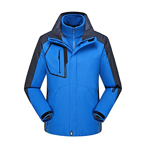 3 Piece Lined Rainsuit (Deylaying Men Outdoor Two-piece Coat Snow Tachnical Jacket Ski Hiking Interchange Jacket Color Blue)