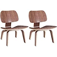 2xhome - Set of Two (2) - Walnut - Brown Wood - 15.25 Seat Height Eames Plywood Lounge Chair Eames Chair Plywood Low Lounge Chair For Living Room Wood Chairs Accent Chairs