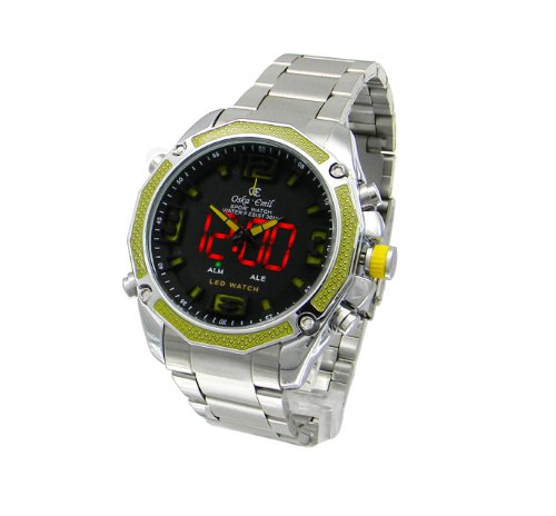 Mens Oskar Emil Accent Dual Time Digital-Analogue Steel Sports Watch (Yellow)