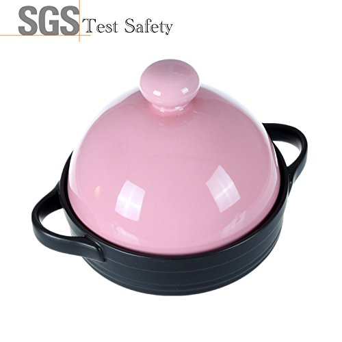 Doublewhale Tagines for Moroccan One-Pot Ceramic Cookware,Colorful Healthy Coating Tagine Cooking Pots,600 Degrees Crack Resistant Soup Pots,Casserole Dish Stockpot,Hot Pot,Stewpot(1-2/5Quarts,Pink)