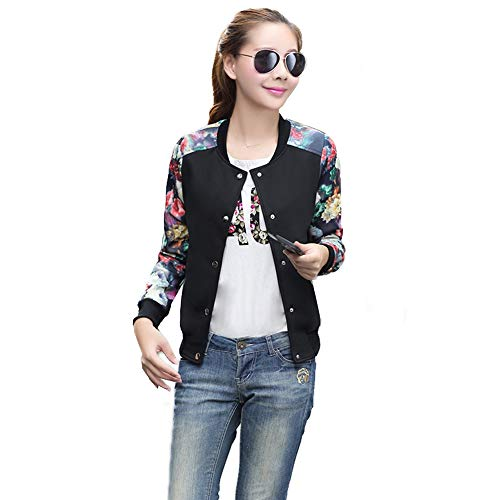 (Women's Floral Print Baseball Bomber Jacket Varsity Coat Short Button Closure Outwear Top)