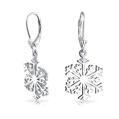 Bling Jewelry Sterling Silver Classic Snowflake Dangle Earrings (Sterling Snowflake Earrings)