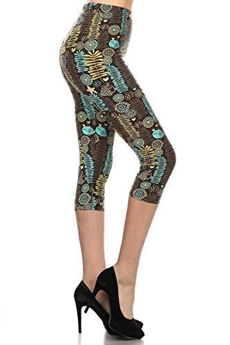 S739-CA-PLUS Fish and Ferns Capri Print Fashion Leggings, Plus Size